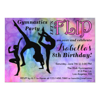 gymnastics flip girls birthday party invitation - Girl Birthday Party Invitations