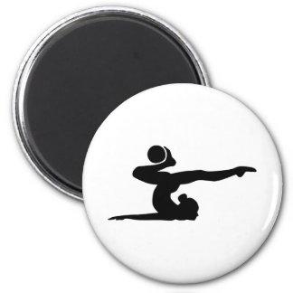 Gymnastics girl ball 2 inch round magnet