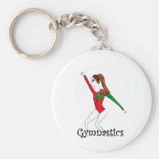 Gymnastics girl basic round button keychain