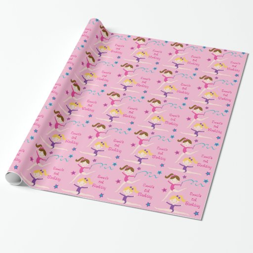 Gymnastics Girl Birthday Wrapping Paper