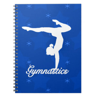 Gymnastics Girl Blue Stars Spiral Note Book