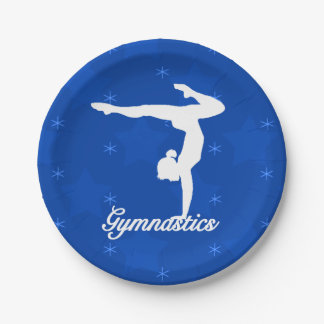 Gymnastics Girl Blue Stars Paper Plate