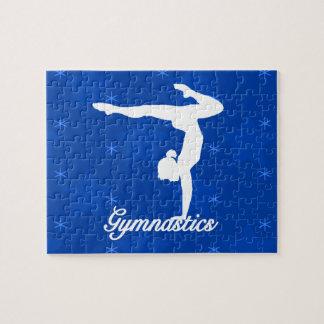 Gymnastics Girl Blue Stars Puzzle