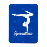 Gymnastics Girl Blue Stars Rectangle Magnets