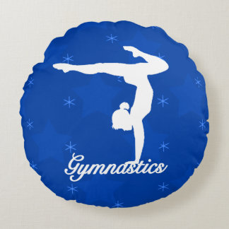 Gymnastics Girl Blue Stars Round Pillow