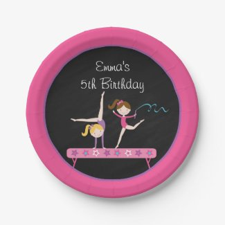 Gymnastics Girl Chalkboard Paper Plates 7 Inch Paper Plate