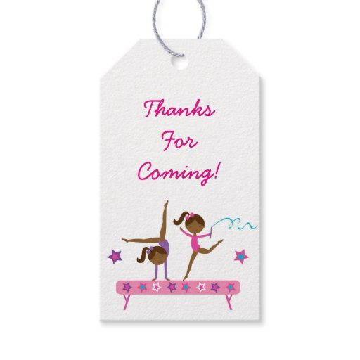 Gymnastics Girl Party Favor Tags African American