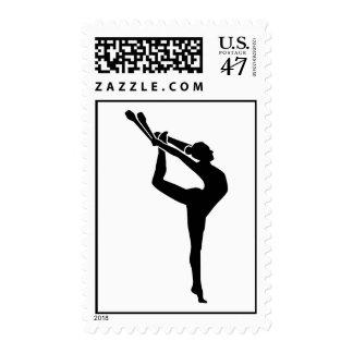 Gymnastics girl woman postage