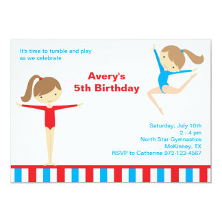 Gymnastics Girls Birthday Party Invitation Custom Announcement