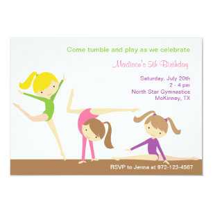 Gymnastics party invitations announcements zazzle gymnastics girls birthday party invitation stopboris Choice Image