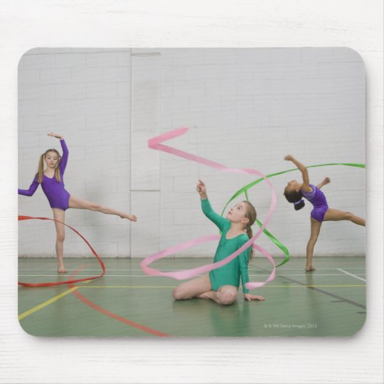 Gymnastics girls dancing with ribbons mouse pad