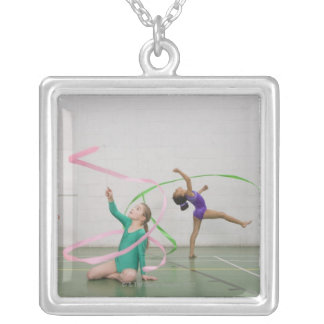 Gymnastics girls dancing with ribbons square pendant necklace