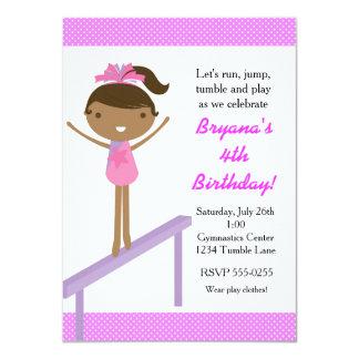 Gymnastics Girls Tumble Birthday Party Invitation