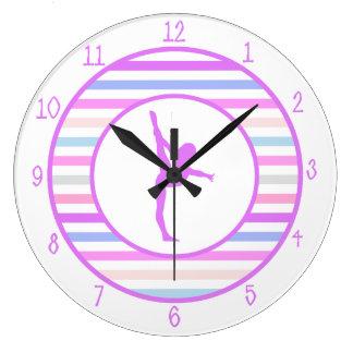 Gymnastics Girly Horizontal Stripes and Diamonds Clock
