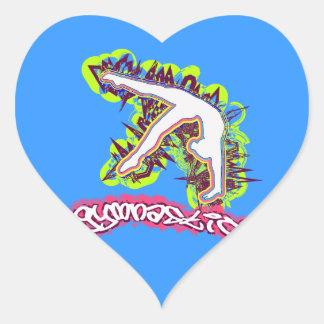 Gymnastics Grafitti Heart Sticker
