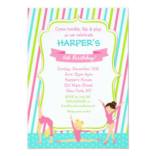 Gymnastics Gymnast Birthday Party Invitations