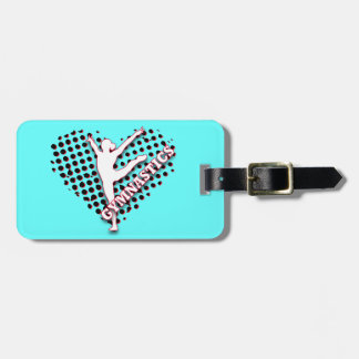 Gymnastics Halftone Heart Red blue Personalized Travel Bag Tags