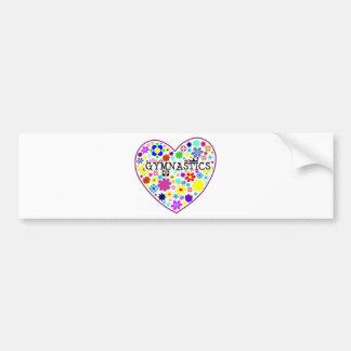 Gymnastics Heart with Flowers Bumper Sticker