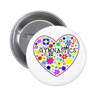 Gymnastics Heart with Flowers Button