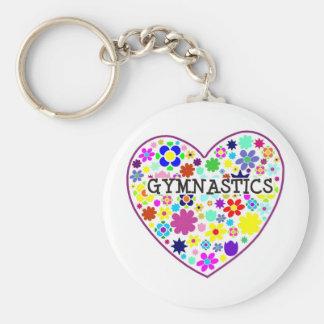 Gymnastics Heart with Flowers Keychain