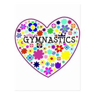 Gymnastics Heart with Flowers Postcard