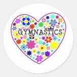 Gymnastics Heart with Flowers Sticker