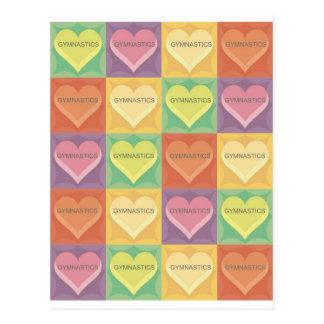 Gymnastics Hearts in Square Postcard