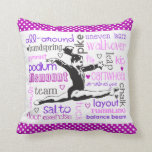 Gymnastics Leaps and Bounds Throw Pillow