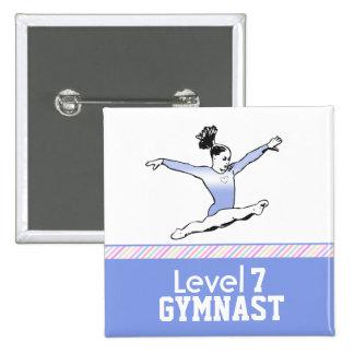 Gymnastics Level Button - Blue Leotard