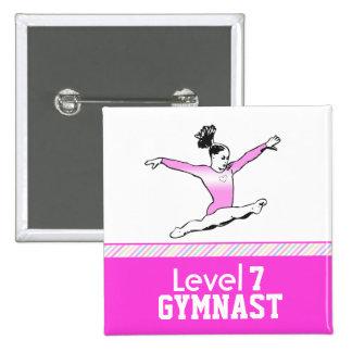 Gymnastics Level Button - Pink Leotard