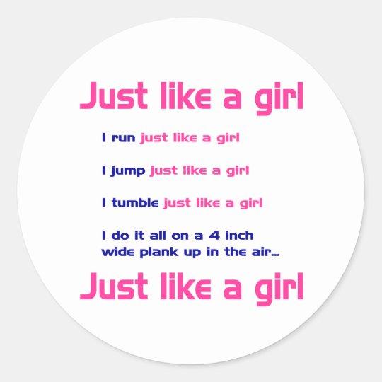 Gymnastics Like a Girl Classic Round Sticker