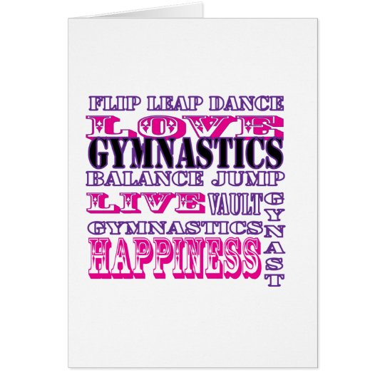 Gymnastics Live, Love, Happiness Apparel for Girls Card