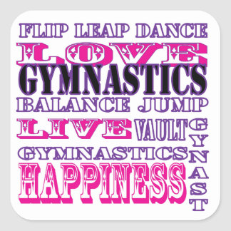 Gymnastics Live, Love, Happiness Apparel for Girls Square Sticker