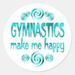 Gymnastics Make Me Happy Classic Round Sticker