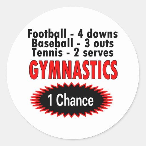 Gymnastics One Chance 1 side Classic Round Sticker