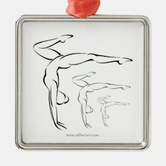 Gymnastics Square Metal Christmas Ornament
