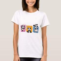 Women's Basic T-Shirt with Gymnastics Pandas design