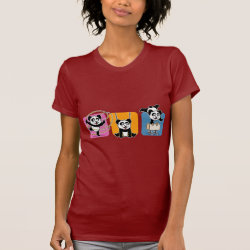 Women's American Apparel Fine Jersey Short Sleeve T-Shirt with Gymnastics Pandas design