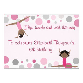 Gymnastics Party Dark Hair Girls In Pink and Gray Card