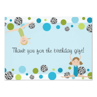 Gymnastics Party Flat Thank You, Aqua and Green 4.5x6.25 Paper Invitation Card