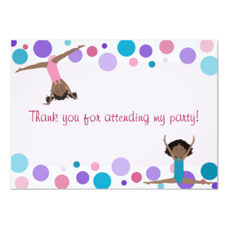 Gymnastics Party Flat Thank You in Aqua and Pinks Card