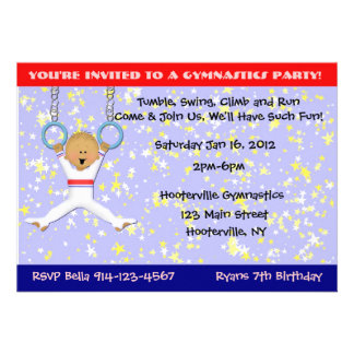 Gymnastics Party Personalized Announcements