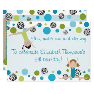 Gymnastics Party Invitation Black, Aqua and Green