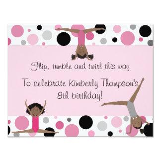 Gymnastics Party Invitation Pink, Gray & Black
