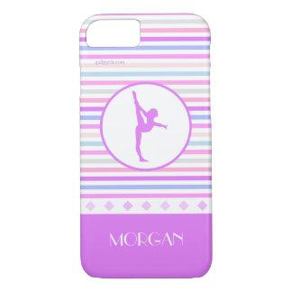 Gymnastics Pastel Horizontal Stripes w/ Monogram iPhone 7 Case