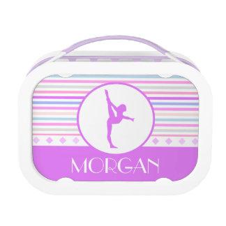 Gymnastics Pastel Horizontal Stripes w/ Monogram Replacement Plate
