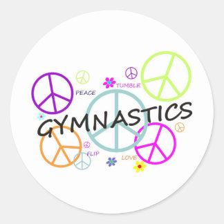 Gymnastics Peace Signs Classic Round Sticker