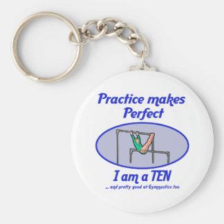 Gymnastics Perfect 10 Basic Round Button Keychain