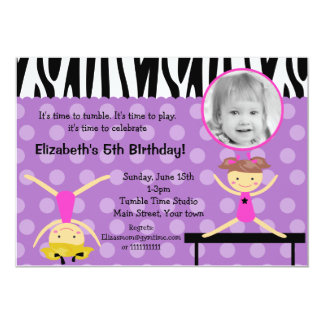 Gymnastics  Photo Birthday Invitations