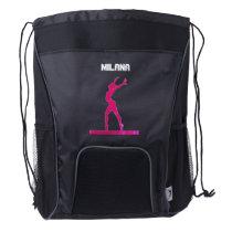 Gymnastics Pink Abstract Gymnast on Balance Beam Drawstring Backpack